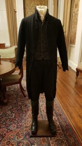 display photo of Johnny Depp as Ichabod Crane in Sleepy Hollow. Costume designed by Colleen Atwood.