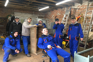 North Lindsey College painting planters at Normanby Hall Country Park