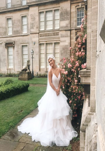 photo of a bride outside Normanby Hall
